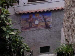 Apricale. Dorf im Hinterland der italienischen Riviera. Wandmalerei