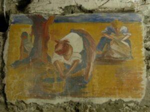 Apricale. Dorf im Hinterland der italienischen Riviera. Freskenmalerei