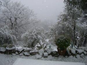 Ferienhaus Casa Rochin bei Dolceacqua an der italienischen Riviera im Schnee