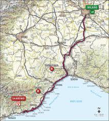 Strecke des Radmarathons Milano-Sanremo