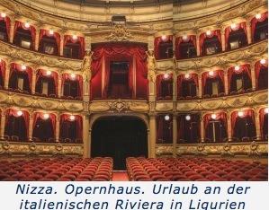 Nizza. Opernhaus. Urlaub an der italienischen Riviera in Ligurien
