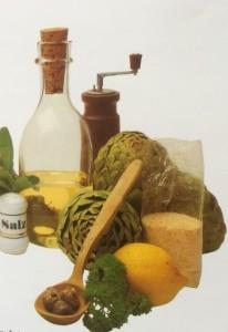 Artischocken und die Zutaten