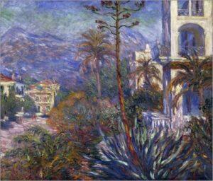 Bordighera. Villen gemalt von Claude Monet 1884. (Kunstdruck). Urlaub an der italienischen Riviera im Ferienhaus in Ligurien