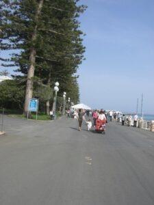 Bordighera. Der Boulevard. Urlaub an der italienischen Riviera in Ligurien