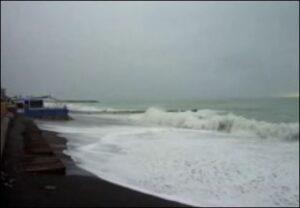 Bordighera. Schlechtes Wetter mit Sturmflut in