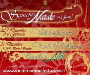 San Remo.Weihnachten mit Blumen. Urlaub an der italienischen Riviera in Ligurien