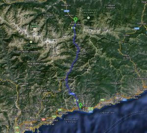 Limone. Anfahrt von Ventimiglia.Skifahren im Urlaub an der italienischen Riviera