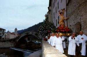 Dolceacqua. San Sebastian Prozession am 20. Januar