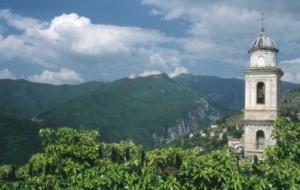 Triora im Hinterland von San Remo Ligurien. Glockenturm