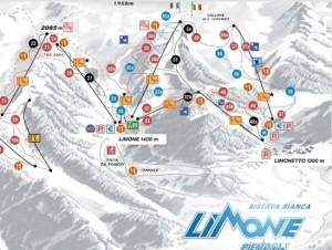 Skigebiet Riserva Bianca in Limone nahe der italienischen Riviera