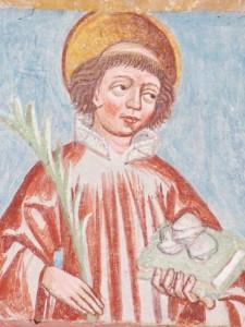 Der Heilige Stephanus mit Palme, Buch und Steinen