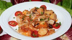 Stockfisch mit Tomaten und Kartoffeln