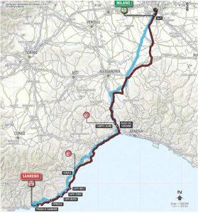 die Route Mailand-Sanremo